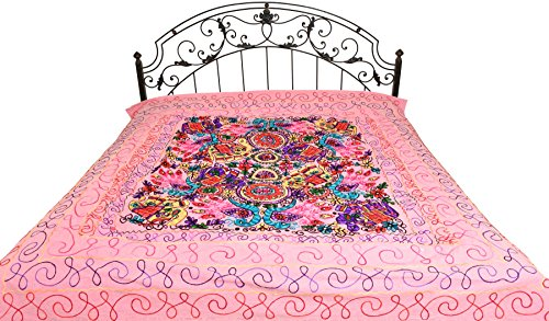 Bedspread from Gujarat with Embroidered Animals - Pure Cotton - Color Prism Pink Color by Exotic India