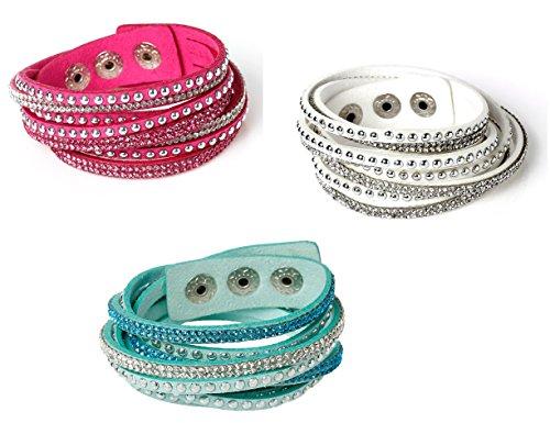 - Velvet and Rhinestone Wrap Around Bracelets - 3 Pack (Fuchsia, Green/Blue, White)