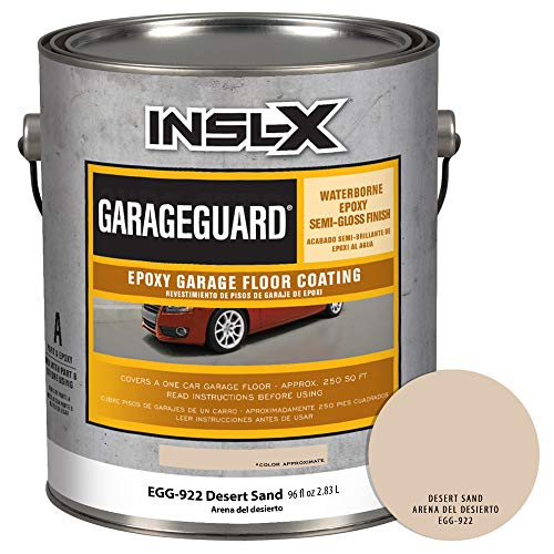INSL-X EGG922S9A-1K Garage Guard Waterbased Epoxy Semi-Gloss Paint, 1 Gallon Kit, Desert Sand