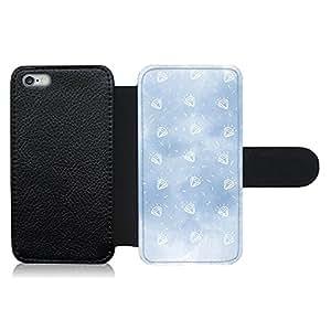 Funda carcasa de cuero para Apple iPhone 6 Plus - 6S Plus diseño diamantes fondo azul
