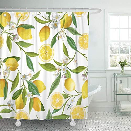 Yokii Lemon Fabric Shower Curtain, Floral Pattern Nature Fruit Citrus Flowers Leaves in Bright Green and Yellow Polyester Bath Curtain Set, 72-Inch Decorative Spa Hotel Heavy Weighted Bathroom Curtain