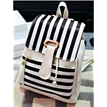Striped Pu Leather Soft Handle Preppy Style Girls Daily Backpack2