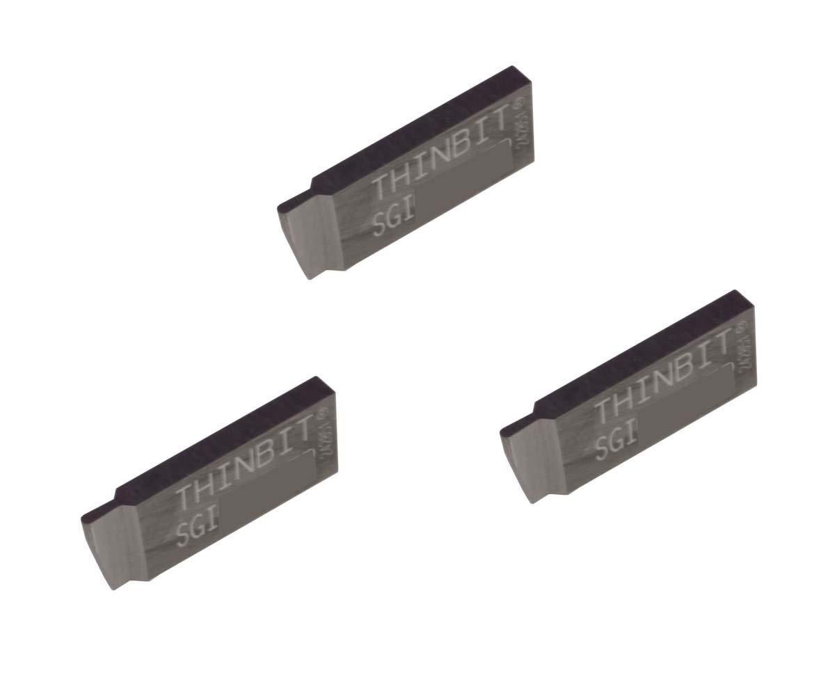 Grooving Insert for Steel Corner Radius 0.003 THINBIT 3 Pack SGI029D2CR003 0.029 Width 0.087 Depth Cast Iron and Stainless Steel with Interrupted Cuts Uncoated Carbide