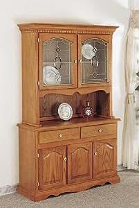 Amazon.com: Country Style Solid Oak Wood Buffet & Hutch w ...