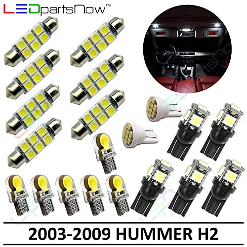 LEDpartsNow Interior LED Lights Replacement for 2003-2009 Hummer H2 Accessories Package Kit (20 Bulbs), WHITE