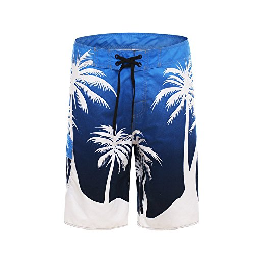 Clothin Men's Quick Dry Surfing Boardshorts with Pocket(Ocean Blue,US 36)