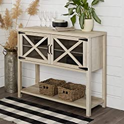 Farmhouse Buffet Sideboards Walker Edison Industrial Modern Farmhouse Wood Buffet Sideboard Storage Cabinet Living Room Entryway, 44 Inch, White Oak farmhouse buffet sideboards