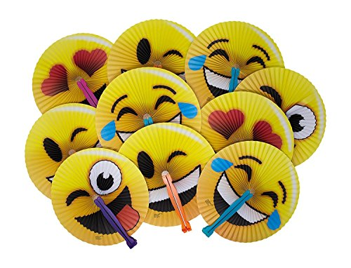12-Pack of 10 Emoji Face Paper Folding Fans! Great Kids Party Favor! Variety of Colors and Styles! by M & M Products Online