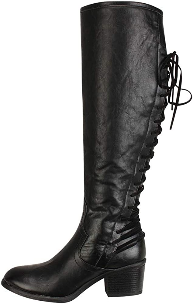 ZODOF Botas Planos Alto Top de Medieval Style para Mujer Botas Altas de tacón Alto de Cuero de Moda de Mujer Botas Altas de Invierno de Rodilla