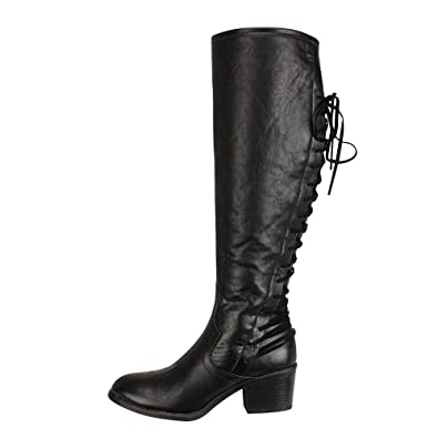254db26627e Byste Women s Fashion Leather Lace up High Heels Boots Winter Sexy Knee  Boots Long Thigh Over The Knee Bandage Side Zipper Pointed Toe Retro  Classic Western ...