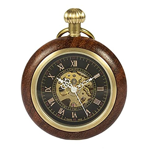 ManChDa Roman Copper Wooden Steampunk Mechanical skeleton Pocket watch with chain Gift Box (Vintage Style Pocket Watch)