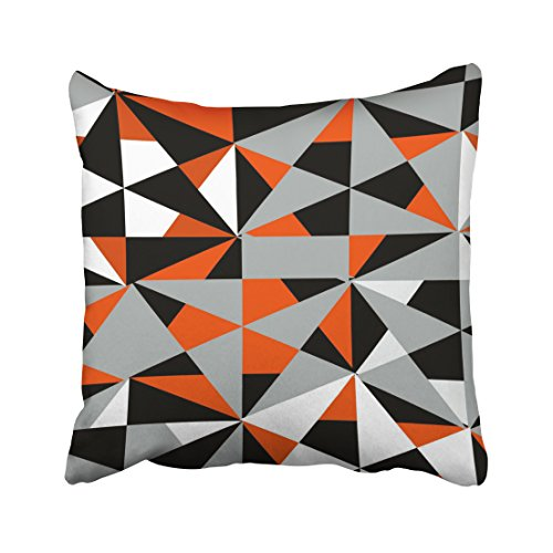 (Capsceoll geometric bold retro funky orange black white Decorative Throw Pillow Case 16X16Inch,Home Decoration Pillowcase Zippered Pillow Covers Cushion Cover with Words for Book Lover Worm Sofa Couch)