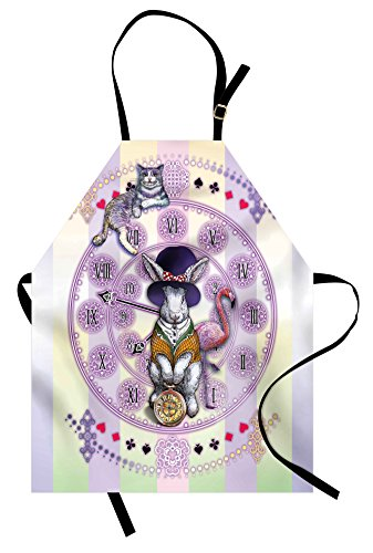 Ambesonne Animal Apron, Alice in Wonderland Rabbit and