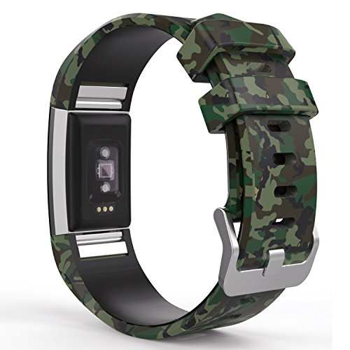 "MoKo Fitbit Charge 2 Christmas Band, Soft Silicone Adjustable Replacement Sport Strap Band for Fitbit Charge 2 Heart Rate + Fitness Wristband, Wrist Length 5.70""-8.26"", Ground Force Camouflage"