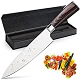 Chef Knife, Koncle 8 Inches Japanese High Carbon Stainless Steel Kitchen Knife with Sharp Blade, Ergonomic Handle, Pro Chef's Knife for Cutting, Chopping, Slicing, Carving, Mincing, Gift Box
