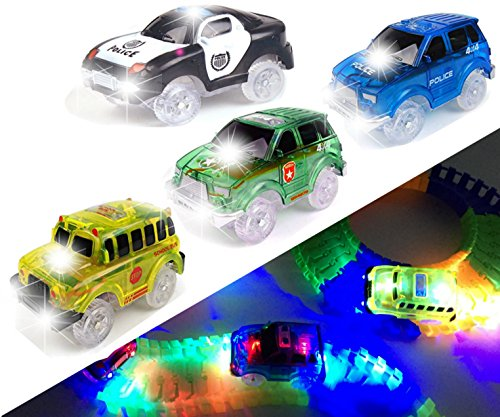 [4 PACK] Light Up Track Replacement Race Cars Toy | Glow in the Dark | w/ 5 LED Lights | For Independent & Track Play | Track Accessories Compatible with Most Tracks for Boys and Girls