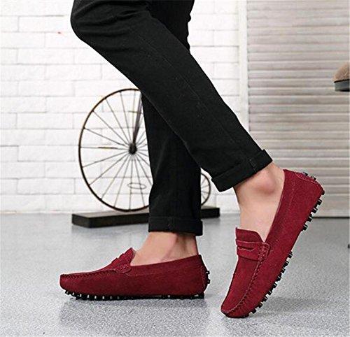 Eu44 Red 38 Zapatos Casuales Sintética Mocasines Gamuza Suave eu40 De Suela 44 Piel Talla A 5 Hombres Los Swnx Forro BWnxwaUqn