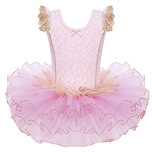 BAOHULU Leotards for Girls Ballet Dance Tutu Skirted Princess Dress 3-8 Years BB156_Pink_L -