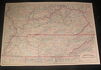 Kentucky & Tennessee 1874 Asher & Adams large old antique hand color map