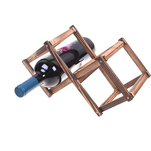 Kloud City Creative Wood Foldable Rhombus Shaped Countertop 3 Bottles Wine Rack Organizer Display Shelf