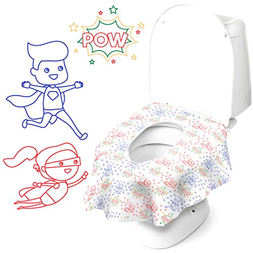Cadily Super Potty Seat Protectors: 40pack Disposable Toilet Seat Covers – Potty Liners Disposable – Finally A Toilet Seat Cover That Completely Covers Any Toilet – Travel Potty Seat for Toddler