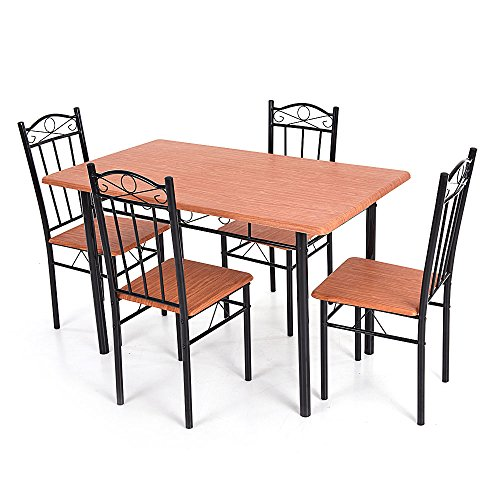 IKayaa 5pcs Modern Dining Table Chairs Set Wood Steel Frame Furniture