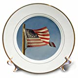 3dRose Danita Delimont - Flags - Arizona. Apache Junction, Betsy Ross US flag, Apacheland Movie Ranch - 8 inch Porcelain Plate (cp_278469_1)