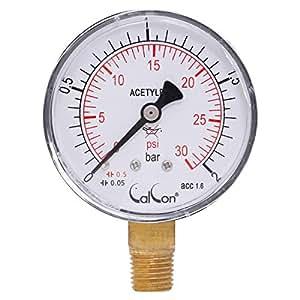 Calcon Actylene Pressure Gauge, CC-1-51-A-63 mm, 1/4 Inch NPT Bottom Connection