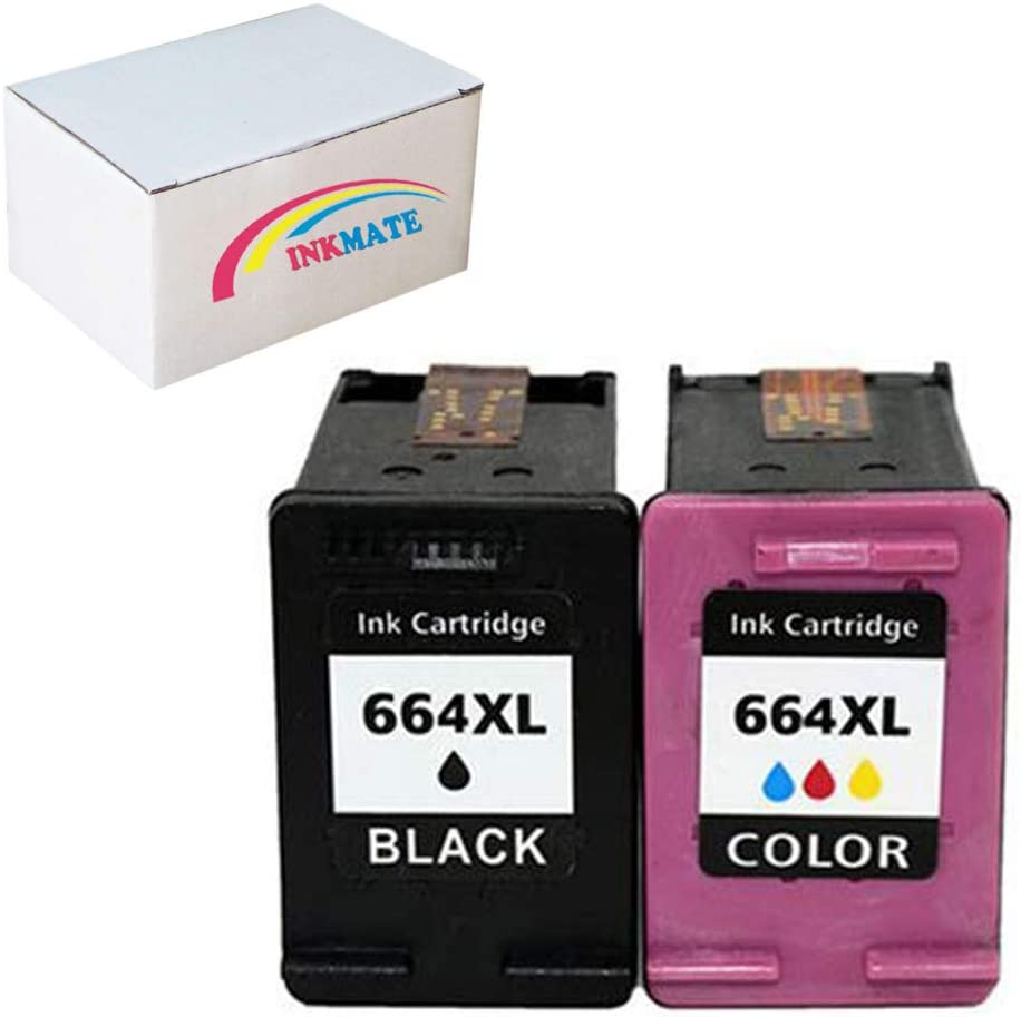 INKMATE Re-Manufactured Ink Cartridge Replacement for HP 664XL F6V30A / F6V31A for DeskJet Ink Advantage 1115 DeskJet Ink Advantage 2136 DeskJet Ink Advantage 3636 (1Black/Tri-Color,2 Pack)