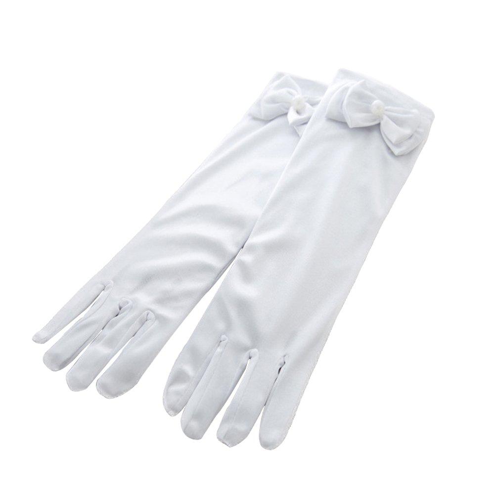 Girls Long Gloves Wedding Formal Pageant Glove Princess Dress Accessories (White)