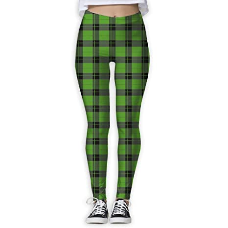 59bc1362b2 CNJELLAW Womens Green Plaid Yoga Leggings Fancy Tummy Control Yoga Pants  Stretch Full Length Tight for