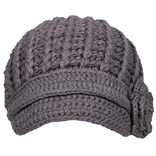 Simplicity Women's Winter Knit Snow Ski Caps Hat with Visor, 1127_Dark Grey