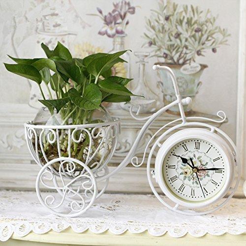 ビンテージ風 自転車型おしゃれな置時計 両面 文字盤 グラス付き2色 B01D4MHKVMホワイト