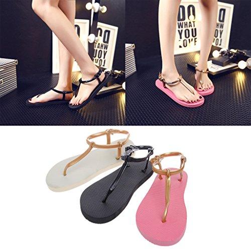 Top-Sell Roman No-Slip Thong Zapatos Zapatillas T-Strap Bloquear Verano Playa Flip Flops Sandalias Planas Kakki