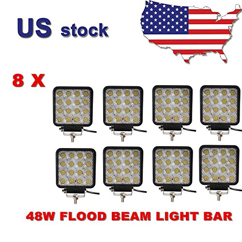 Greatek 8 Pcs 4 Inch 48w LED Work Bar Flood Beam Square for 4WD 4X4 ATV SUV Jeep Offroad Fog Light