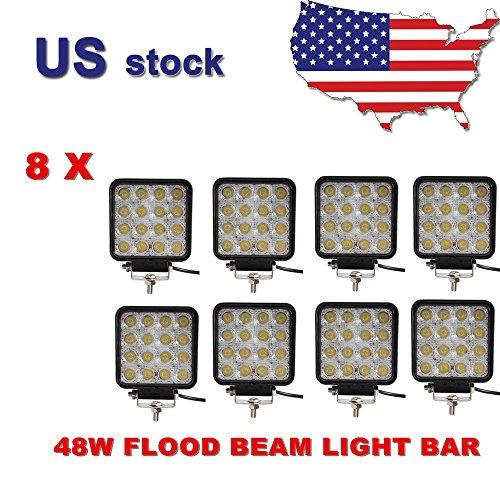 Greatek 8 Pcs 4 Inch 48w LED Work Bar Flood Beam Square for 4WD 4X4 ATV SUV Jeep Offroad Fog Light
