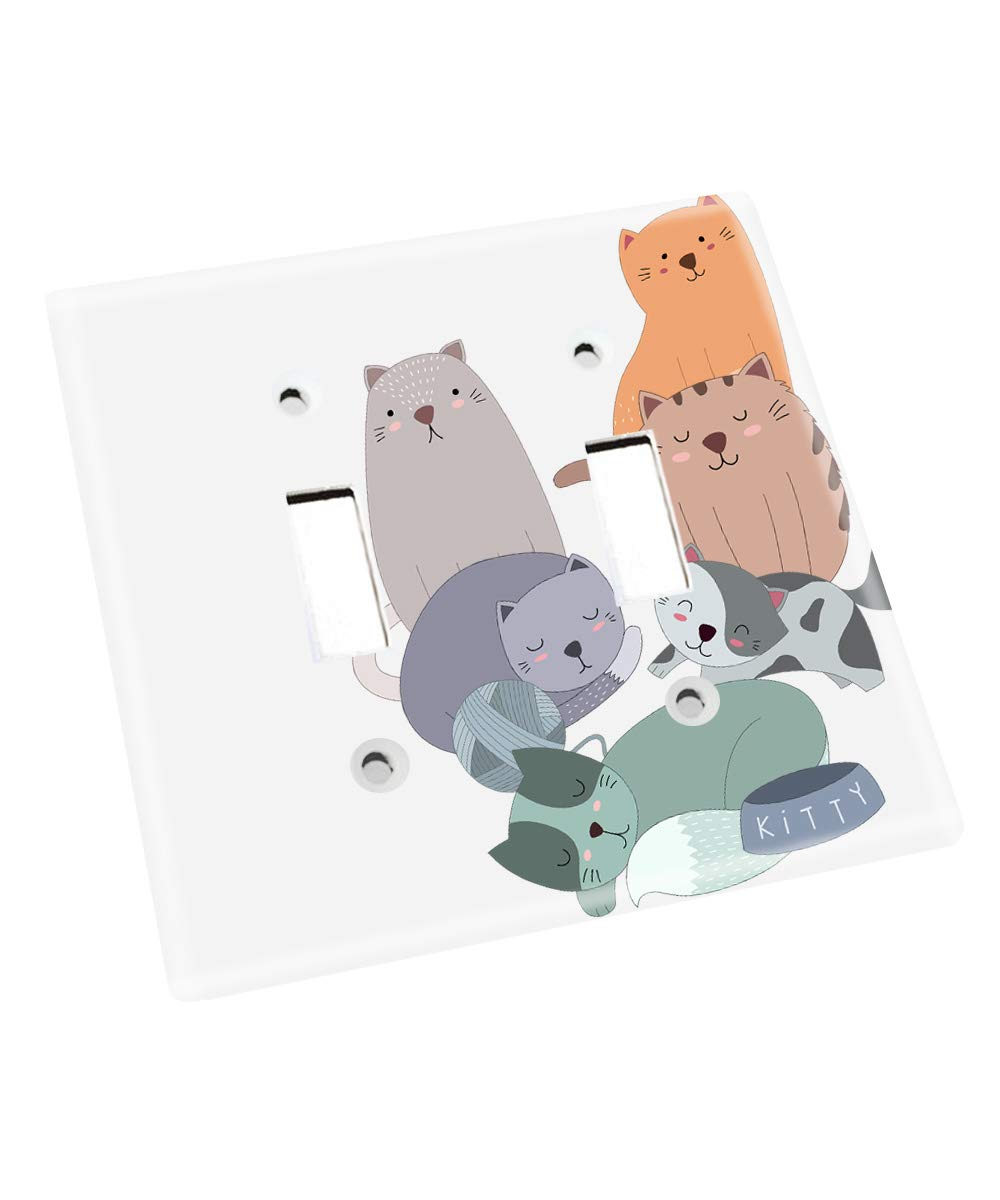 Cuddly Kitty Cats Kids Bedroom Baby Nursery Light Switch Cover LS0113 (Double Standard) by Toad and Lily