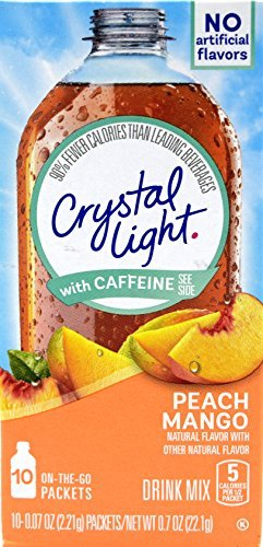 Crystal Light On The Go Peach Mango With Caffeine Drink Mix, 10-Packet Box (Pack of 9) by Crystal Light