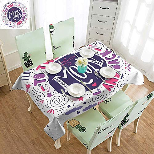 (DILITECK Restaurant Tablecloth I Love You Sweet Colorful Love with Fun Forms Comet Storm Clouds Valentines Theme and Durable W70 xL102 Pink Violet Purple)