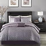 Purple Comforter Sets Queen Madison Park Biloxi Queen Size Bed Comforter Set Bed in A Bag - Purple, Geometric – 7 Pieces Bedding Sets – Ultra Soft Microfiber Bedroom Comforters