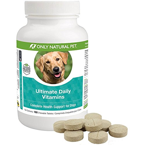 Only Natural Pet Ultimate Daily Chewable Tablets Nutritional Supplement for Dogs - 180 Turkey Flavor Tablets Dog Multivitamin Supplements - Joints, Skin & Coat, Immune Support, Digestion & ()