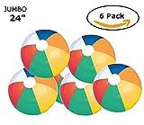 Fun Land 24 inch Pack of 6 Jumbo Colorful Beach Balls Rainbow Color Beach Balls 24'' Inch