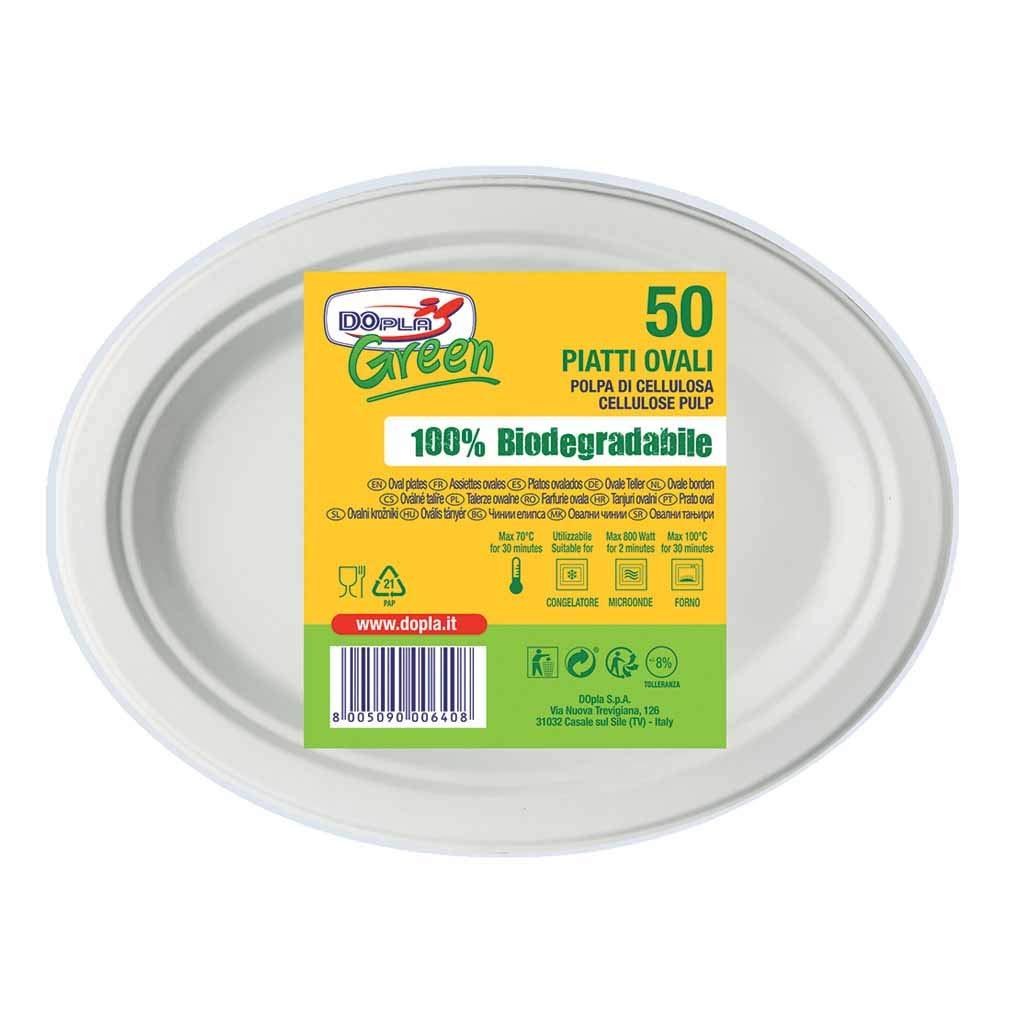 Piatti Biodegradabili usa e getta /Ø 26 cm- 50 pz Piatti biodegradabili Compostabili Ovali 50 Piatti Ovali Bio Dopla