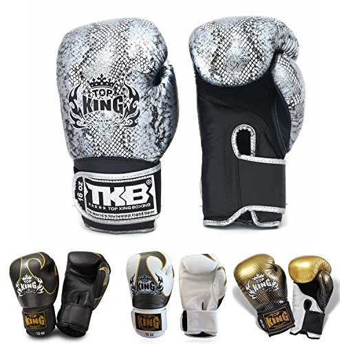 KINGTOP Top King Gloves for Training and Sparring Muay Thai, Boxing, Kickboxing, MMA (Snake (Air) - Black/Silver,16 oz)