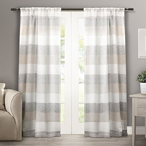 Exclusive Home Bern Stripe Sheer Window Curtain Panel Pair with Rod Pocket, Natural, 50x84, 2 Piece (Curtains Outdoor Barn Pottery)