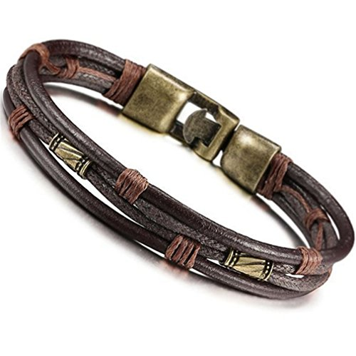 Yinew Men's Punk Silver Leather Bracelets Braided Leather Rope Woven Wrap...