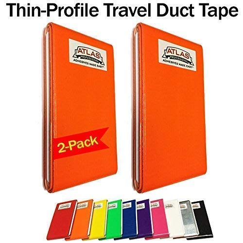 Swiss Army Atlas - Travel Duct Tape Card-Thin Profile-Flat Fold Cards-Jumbo 2 Pack (16-Feet) (Orange)