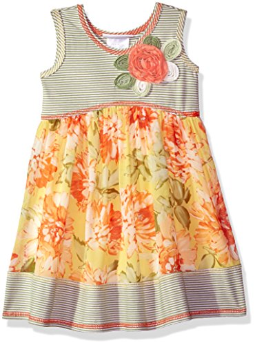 Bonnie Jean Toddler Girls' Knit To Challis Print Dress, Yellow/Green, 2T Bonnie Jean Bodice Jeans