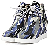 Summerwhisper Women's Trendy Camouflage Print High Top Lace-up Heighten Inside Sneakers Platform Ankle Boots Gray 8.5 B(M) US