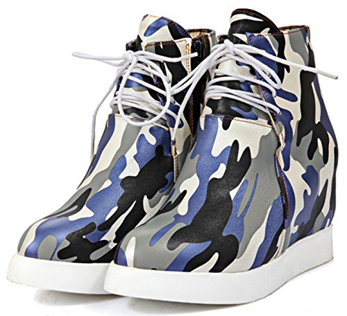 Summerwhisper Women's Trendy Camouflage Print High Top Lace-up Heighten Inside Sneakers Platform Ankle Boots Gray 8.5 B(M) US by Summerwhisper